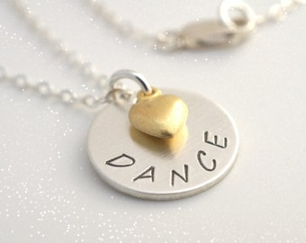 DANCE RECITAL GIFT, Gift for Dancer, Sterling Silver Dance Necklace, Dance Teacher Gift, Girls Dance Team Gifts, Graduation Gift for Dancer