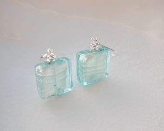 Murano Glass Blue Earrings