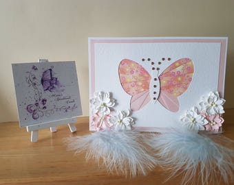 Butterfly Card , Birthday Card , Handmade , Card for Her , Thank you , Iris Folding  , Sympathy Card , Greetings Card , Congratulations
