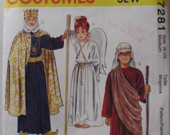 SALE - Childrens O Holy Night Costume Pattern - King, Angel, Shepherd, Peasant - McCalls 7281 - Size Medium (8 - 10), Chest 27 - 28 1/2