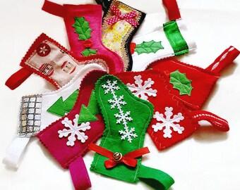 mini christmas stocking decoration, felt tree decoration, felt mini decorated stockings, christmas decorations, multicoloured felt stockings