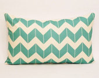 clearance discontinued 50 % off  huge sale chevron pillow cover cream turquoise dimensional custom linen throw home decor zig zag blue