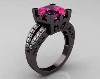 French Vintage 14K Black Gold 3.8 Carat Princess Pink Sapphire Diamond Solitaire Ring R222-BGDPS