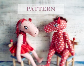 PATTERN for soft stuffed horse stuffed toy, 13 inches