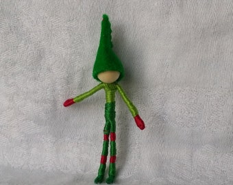 Christmas Elf, Green Cap, in Christmas tree box - 2 inches tall