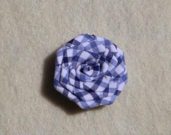 Blue Gingham flower lapel pin