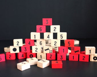 Wooden Game Pieces Blocks Numbered and Symbols Red
