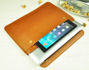 Brown Leather Macbook Air Sleeve,Leather Sleeve for Macbook 11inch,Macbook 13inch,Leather Laptop  11inch,Leather Macbook Cover13inch-BN009