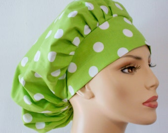 Lime Green Large Polka Dot's Bouffant Surgical Scrub Hat - Lime Green Polka Dots All Over Medical Scrub Hat