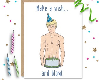 5 x 7 Make a wish and blow, funny birthday card, Gay birthday card, Gay Greeting Card, Naughty Card, Gay Greeting, Card for Boyfriend