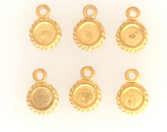 Charms, Gold plated set of 6  mini charms: item #2562