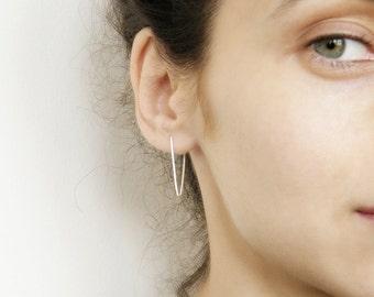 Line earrings, staple earrings, edgy silver earrings, minimalist earrings, geometric earrings, hipster style earrings