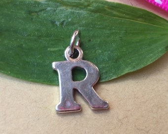 Letter R Charm Sterling Silver Initial R