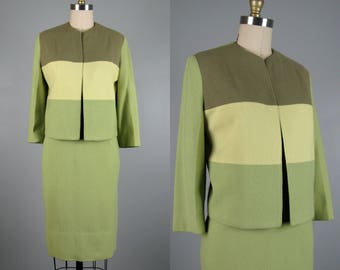 Vintage 50s or 60's Green Wool Suit Gradient Avocado Green Skirt Suit by Arthur Jay Size M