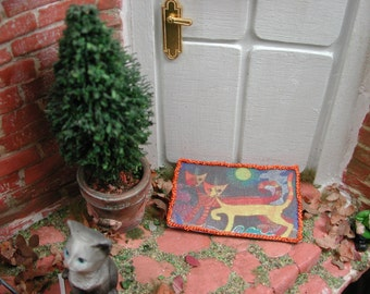 Dollhouse Miniatures, miniature doormat cats Colorful, doormat in 1zu12 for the doll house, doll parlor, collectors