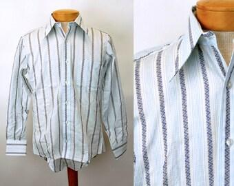 1970s mens shirt New Old Stock Golden Vee striped shirt blue white Size 15 neck