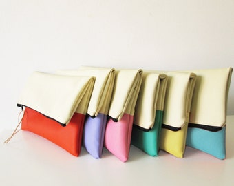 Personalized Bridesmaids clutches, Bridesmaids clutch set, clutch purse, fold over purse, cream, Pastels, Gift, Wedding gift
