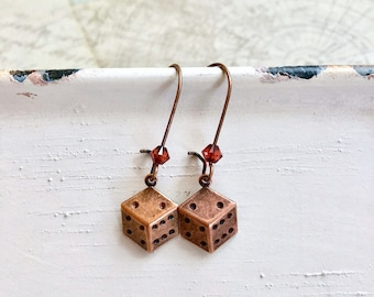 Jessica copper dice earrings - dice charm earrings - anitque copper earrings - gamer - gambler