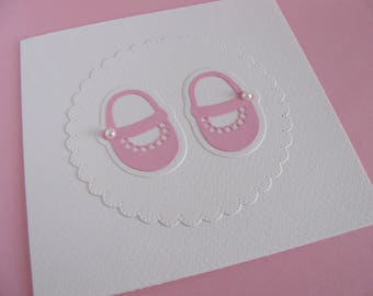 Baby Shoes with Pearls on Scalloped Circle on Creamy Ivory Card / Ivory or YOUR Colour Choice / 5.5 inches square / Made to Order