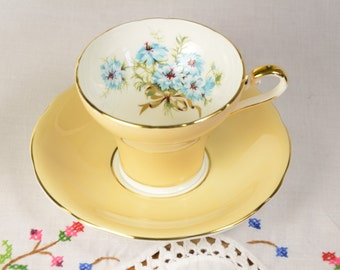 Aynsley bone china tea cup and saucer, corset tea cup, blue hand painted flowers