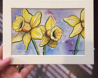Yellow Daffodil Art Print // Spring Flower Painting // Yellow and Purple Floral Artwork