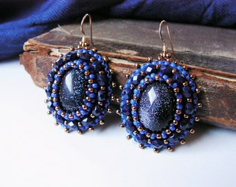 Blue Beadwork Earrings Gold stone Earrings Blue Dangle Earrings Cabochon Earrings Gemstone Earrings Bead Embroidery Jewelry MADE TO ORDER