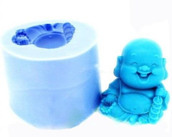 3D Laughing Buddha Soap Molds Flexible Silicone Moulds Candle Candy Cake Fimo Resin Crafts Chocolate molds Plaster mold Soap Moulds