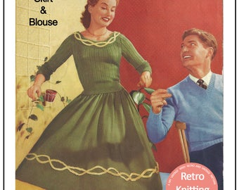 1950's Skirt and Scoop Neck Sweater Knitting Pattern - PDF Knitting Pattern - Pdf Instant Download