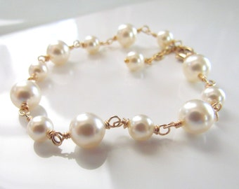 Ivory Pearl Bracelet, Gold Filled, Wire Wrapped, Pearl Bracelet, Bridesmaid Bracelet, Vintage Style Jewelry