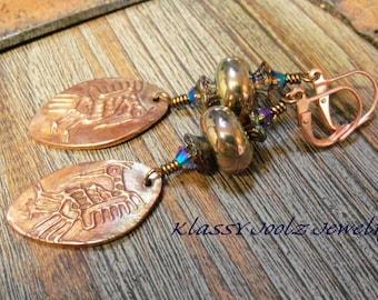 Copper Handmade Tribal Bird Charms and Glass Lampwork Beaded Earrings-Artisan Lampwork Earrings-PMC Earrings-Tribal-Bohemian Earrings-SRAJD
