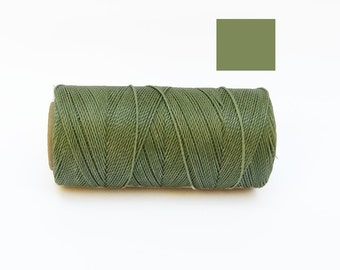 Waxed Polyester Cord - Macrame Cord - SAGE GREEN - Spool of 188 yards