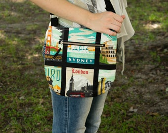 Travel Bag, Crossbody Purse, Small Purse, Casual Bag, Hipster Purse, Travel Gift