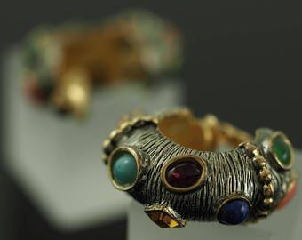 Prächtige Kenneth Jay Lane Vintage Kreolen. Costume Jewelry Clip Earrings.