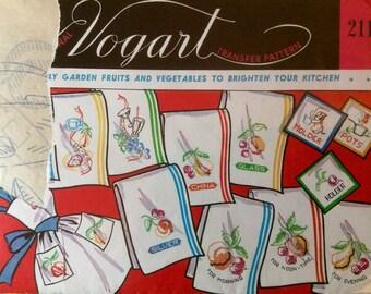 Vogart Vintage Embroidery Hot Iron Transfers Garden Fruits Vegetables Kitchen Motifs Linens Aprons 1950's