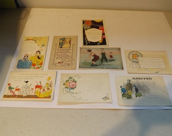 Eight Vintage Post Cards