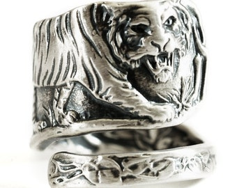 Tiger Ring, Sterling Silver Spoon Ring, Cat Lover Gift, Big Cats, Silver Tiger Ring, Wild Animal Ring, Custom Ring Size 4 5 6 7 8 9 10 (533)