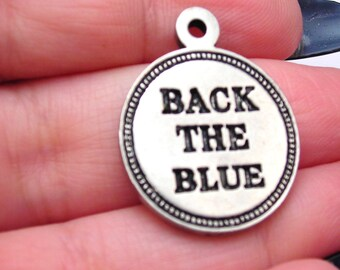 Back the blue police support awareness charm