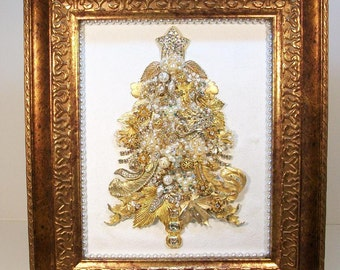 SOLD.....Do Not Purchase....Framed Collage Vintage Jewelry CHRISTMAS TREE....Glistening Gold