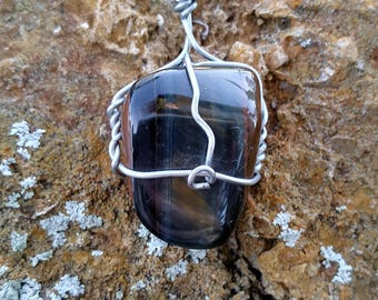 Sale~Blue Tiger's Eye wire wrapped necklace, Mercury Retrograde stone, Mercury Retrograde protection