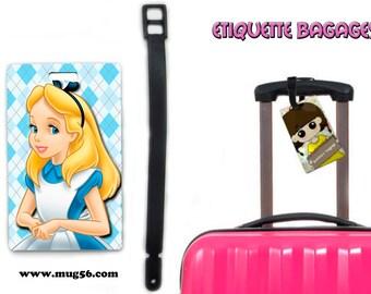 alice in wonderland - disney luggage tag