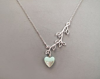 Silver Branch Mint Heart Necklace - Adjustable Necklace - Bridesmad Gift