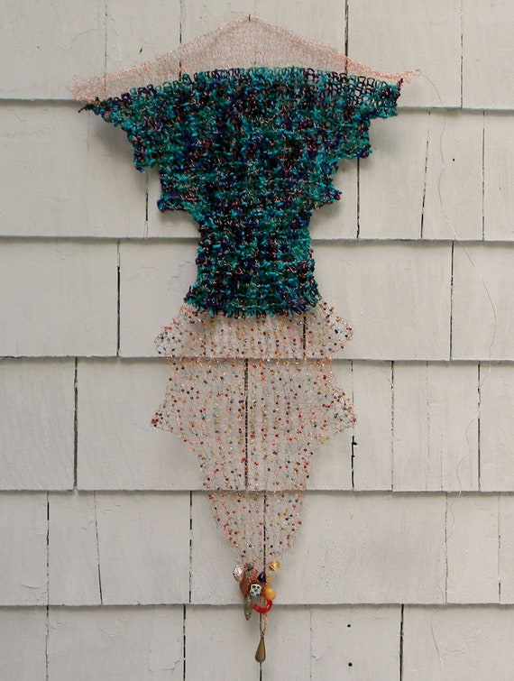 Portia's Space Smock Hand Knit Copper Vessel of Love wall hanging