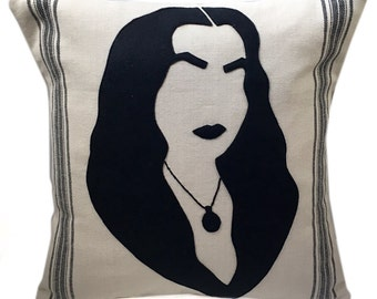 Felt Applique Morticia Addams Pillow Case