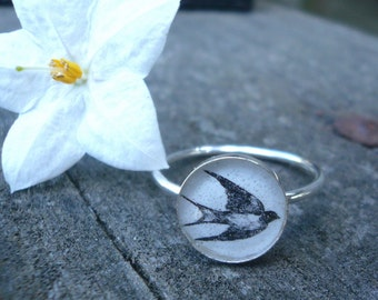 Sparrow Silhouette Ring Size 7 1/4 -  Sterling Silver and Resin
