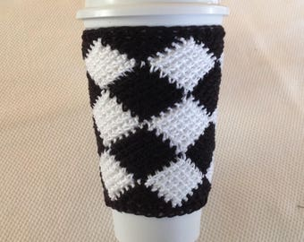 Crocheted Black and White Checkerboard Cup Sleeve