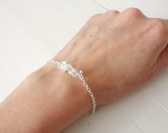 Chain bracelet rock crystal stones minimalist bracelet clear quartz stones bracelet for women