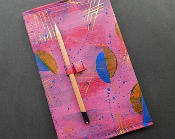 Recycled PVC note book cover and note book, handmade, leather look, refillable, includes quality starter note book, pencil loops