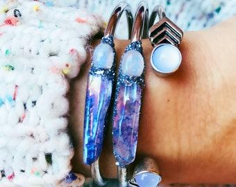 Moonstone Jewelry, Moonstone Bracelet, June Birthstone Jewelry, Moonstone, Rainbow Moonstone, June Birthstone, Angel Aura Quartz, Angel Aura