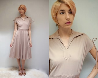 70s MIDI DRESS Casual Dress Vintage 1970s Midi Dress Boho Dress Dress Taupe Dress Simple Dress Cap Sleeve Dress Short Sleeve Dress Day Dress