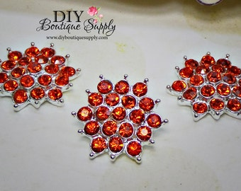 ORANGE Crystal Button Flat Back Halloween Embellishment Rhinestone Flatbacks - Headband Supplies flower centers Scrapbooking 21mm 625038